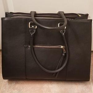 Large black leather purse